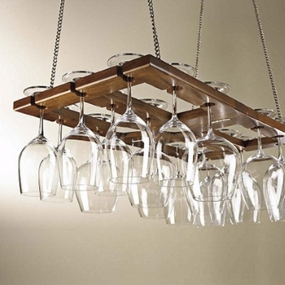 Picture of Wine Enthusiast Hanging Mahogany Wine Glass Rack