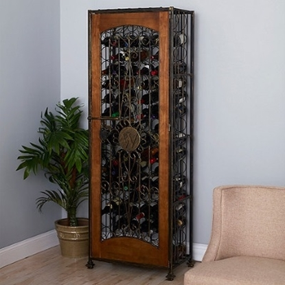 Picture of Wine Enthusiast 96-Bottle Antiqued Steel/Wood Accent Wine Jail
