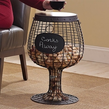 Picture of Wine Enthusiast Wine Glass Cork Catcher Accent Table