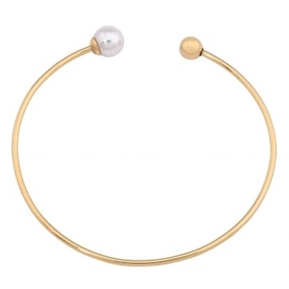 Picture of Majorica 8mm White Pearl Ball Gold Rigid Bangle