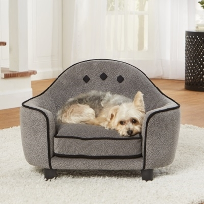 Picture of Enchanted Home Pet Ultra Plush Headboard Bed - Diamond Grey