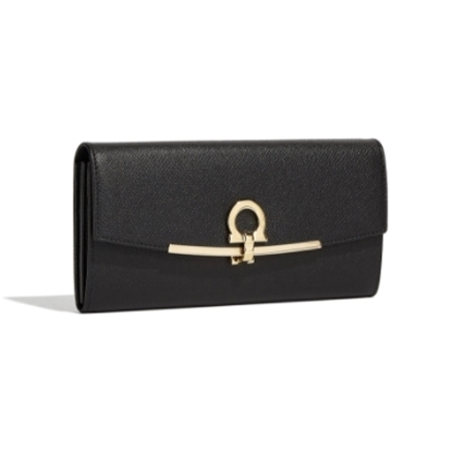 Picture of Salvatore Ferragamo Ladies' Gancino Clip Wallet - Nero