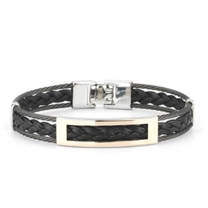 Picture of ALOR Men's Black Cable/Black Leather Stainless Steel Bracelet