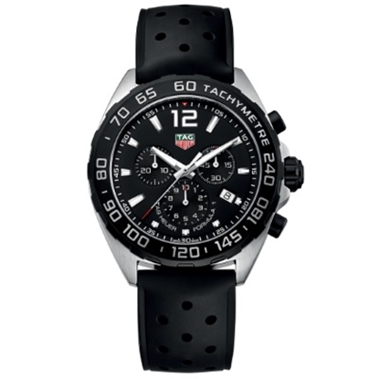 Picture of TAG Men's Formula 1 Watch with Rubber Strap & Black Dial
