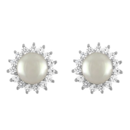Picture of Majorica 8mm White Pearl Cubic Zirconia Stud Earrings