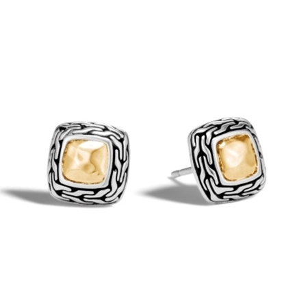 Picture of John Hardy Classic Chain Hammered Gold & Silver Stud Earrings