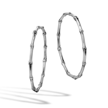 Picture of John Hardy Bamboo Silver Large Hoop Earrings with Full Closure