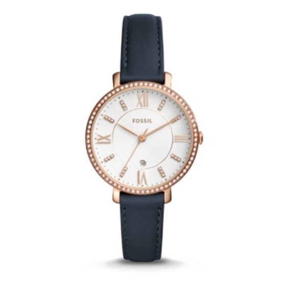 Picture of Fossil Jacqueline Three-Hand Date Watch w/ Navy Leather Strap