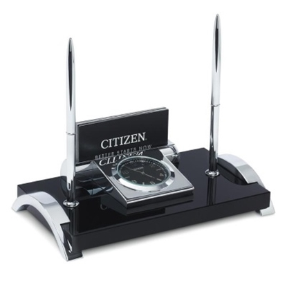 Picture of Citizen Desk Clock with Card Holder & Two Pens - Black/Silver