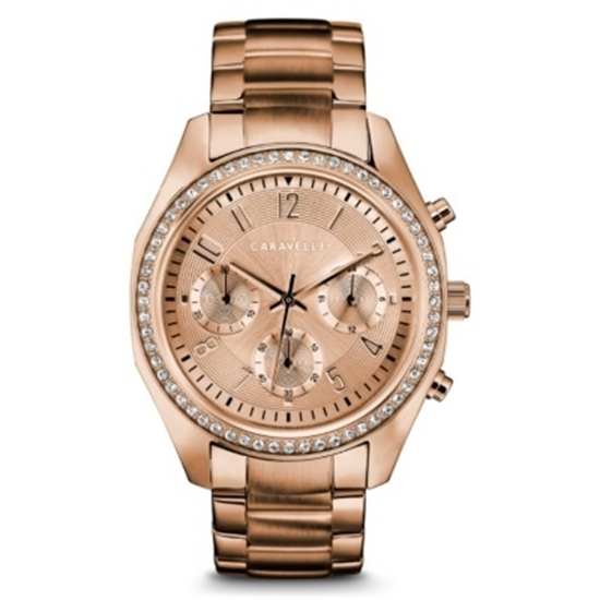 Picture of Bulova Caravelle NY Ladies' Rose Gold-Tone Watch with Crystals