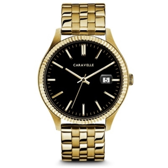 Picture of Bulova Caravelle NY Men's Gold-Tone Watch with Black Dial