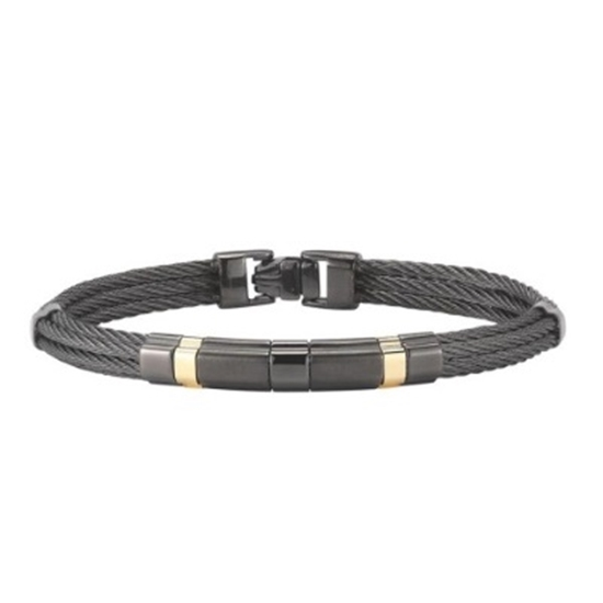 Picture of ALOR® Men's Yellow Gold/Black Stainless Steel Cable Bangle