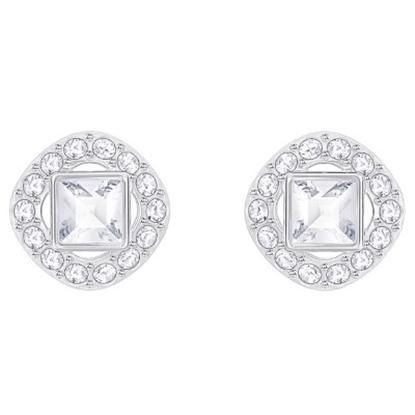 Picture of Swarovski Angelic Square Pierced Earrings - Rhodium/White