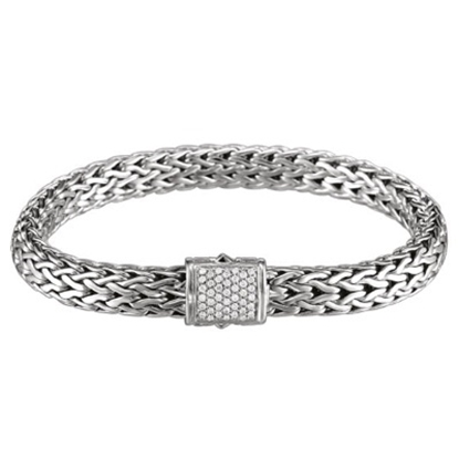 Picture of John Hardy Classic Chain Silver Diamond Pave Medium Bracelet