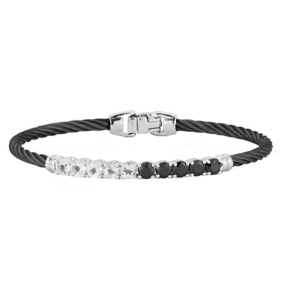 Picture of ALOR® Black Cable Bracelet with Black Onyx and White Topaz
