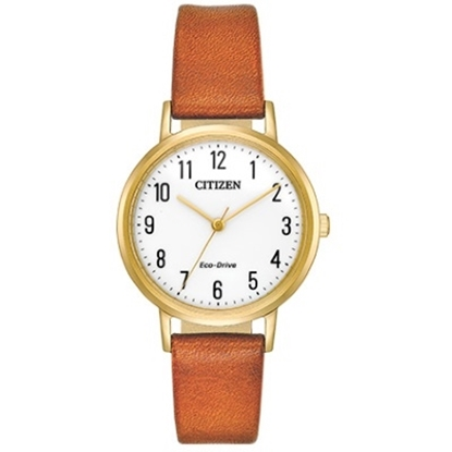 Picture of Citizen Eco-Drive Chandler Brown Leather Watch with White Dial