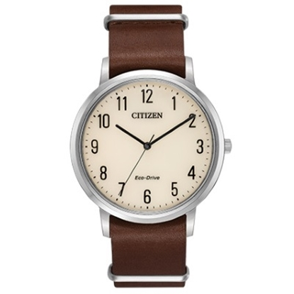 Picture of Citizen Eco-Drive Chandler Brown Leather Watch with Ivory Dial