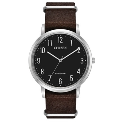 Picture of Citizen Eco-Drive Chandler Brown Leather Watch with Black Dial