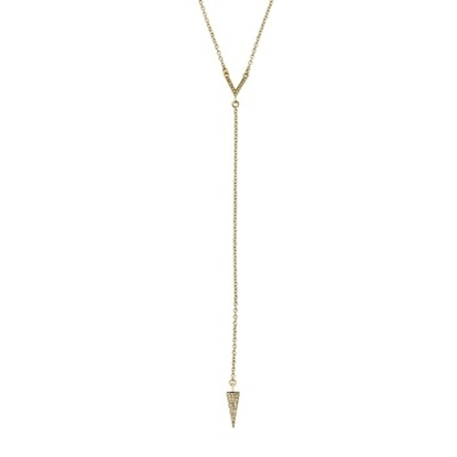 Picture of Rebecca Minkoff Crystal Cone Y Necklace - Gold with Crystal