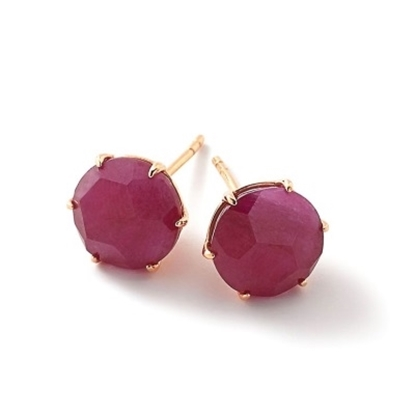 Picture of Ippolita Medium Stud Earrings in 18K Gold - Ruby