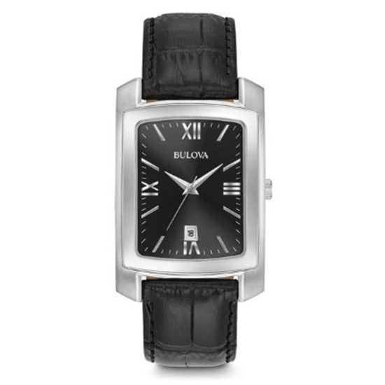 Picture of Bulova Black Croc Leather Watch with Black/Silver Dial