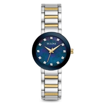 Picture of Bulova Two-Tone Steel Watch with Blue MOP Diamond Dial