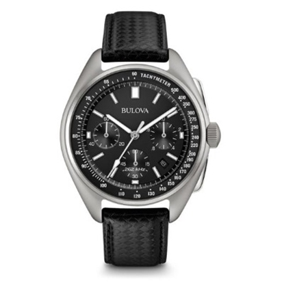 Picture of Bulova Black Leather Moon Watch with Black/Silver Dial