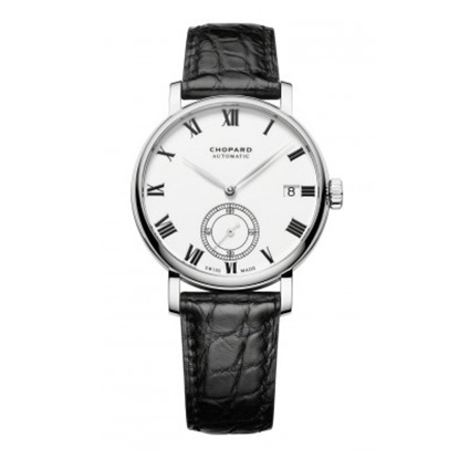 Picture of Chopard Classic 18K White Gold Watch with Black Leather Strap