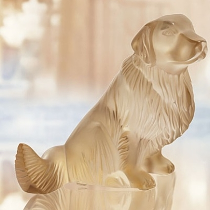Picture of Lalique Golden Retriever Figure - Gold Luster