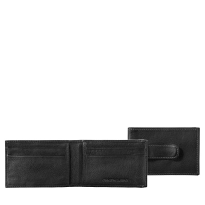 Picture of Johnston & Murphy Two Fold Money Clip - Black Tumbled