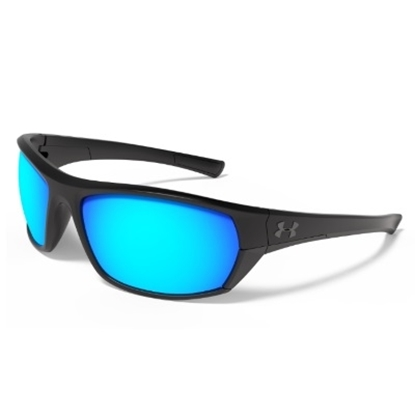 Picture of Under Armour Elevate Sunglasses - Black Satin Frame/Blue Lens