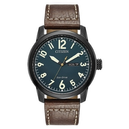 Picture of Citizen Eco-Drive Chandler Brown Leather Watch with Blue Dial