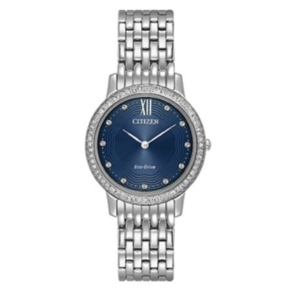Picture of Citizen Eco-Drive Silhouette Crystal Watch with Navy Dial