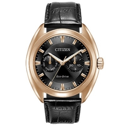 Picture of Citizen Eco-Drive Paradex Black Leather Watch with Black Dial