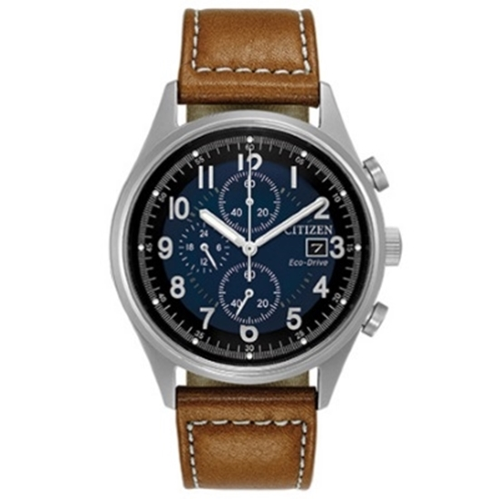 Picture of Citizen Eco-Drive Chandler Brown Leather Watch with Navy Dial