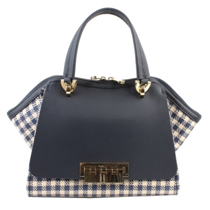 Picture of Zac Posen Eartha Iconic Small Double Handle- Navy Ginham Straw