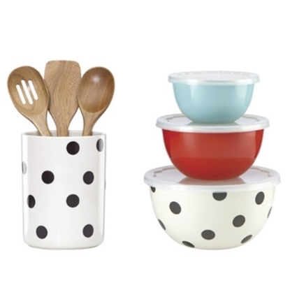 Picture of Kate Spade Deco Dot Utensil Set w/ Crock and Serve & Store Set