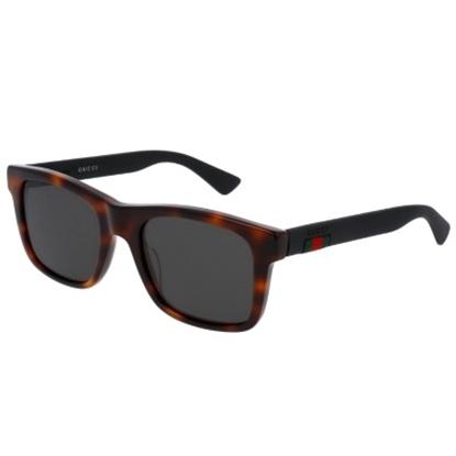 Picture of Gucci Urban Rubber Rectangle Frame Sunglasses - Havana Black