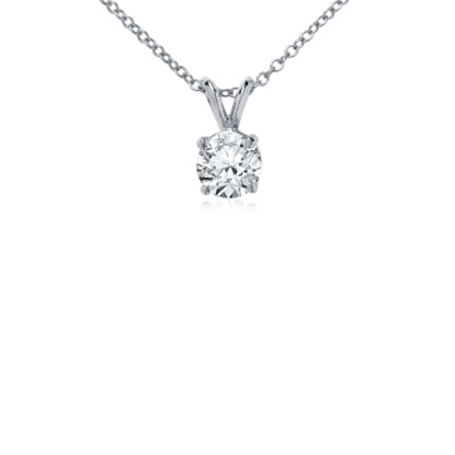 Picture of Lotus Collection 14K White Gold Round Pendant & Chain - .50ct Diamonds
