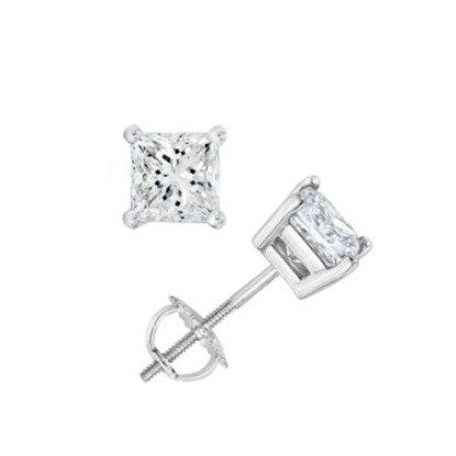 Picture of Lotus Collection 14K White Gold Princess Cut Stud Earrings- 1.00ct Diamonds