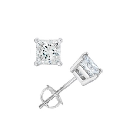 Picture of Lotus Collection 14K White Gold Princess Cut Stud Earrings - .50ct Diamonds
