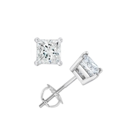 Picture of Lotus Collection 14K White Gold Princess Cut Stud Earrings - .25ct Diamonds