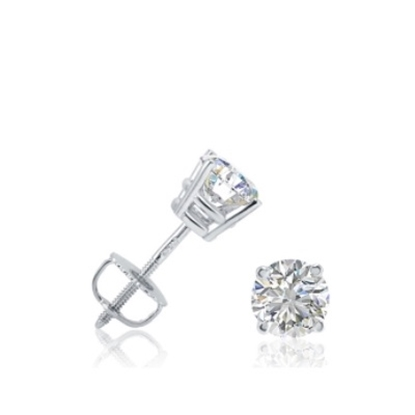 Picture of Lotus Collection 14K White Gold Round Stud Earrings - 1.00ct Diamonds