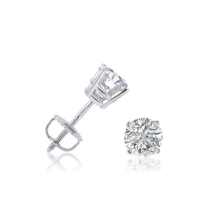 Picture of Lotus Collection 14K White Gold Round Stud Earrings - .50ct Diamonds