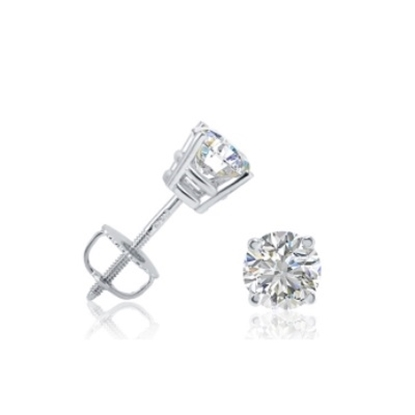 Picture of Lotus Collection 14K White Gold Round Stud Earrings - .25ct Diamonds