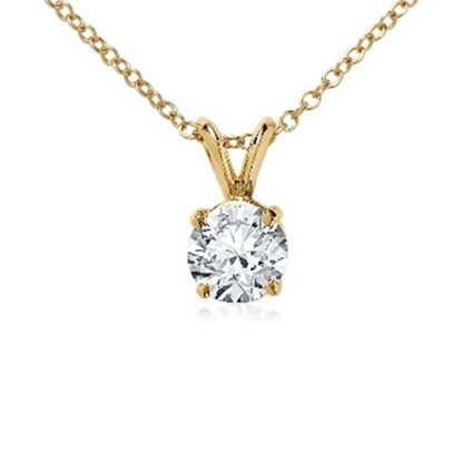 Picture of Lotus Collection 14K Yellow Gold Round Pendant & Chain - .50ct Diamonds