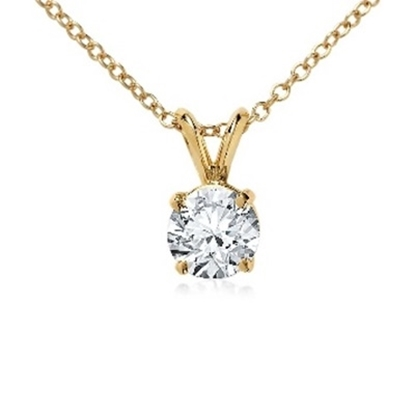 Picture of Lotus Collection 14K Yellow Gold Round Pendant & Chain - .25ct Diamonds