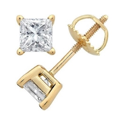 Picture of Lotus Collection 14K Yellow Gold Princess Cut Stud Earrings- 1.00ct Diamond