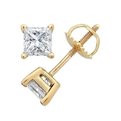Picture of Lotus Collection 14K Yellow Gold Princess Cut Stud Earrings- .50ct Diamonds