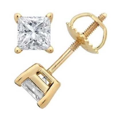 Picture of Lotus Collection 14K Yellow Gold Princess Cut Stud Earrings- .25ct Diamonds